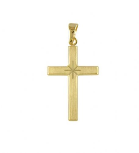 Diamond Cut Frosted Solid Yellow Gold Cross With Chain